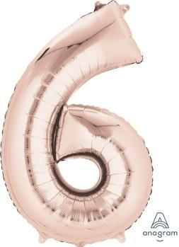 Supershape Rose Gold Number 6 Balloon - Anagram