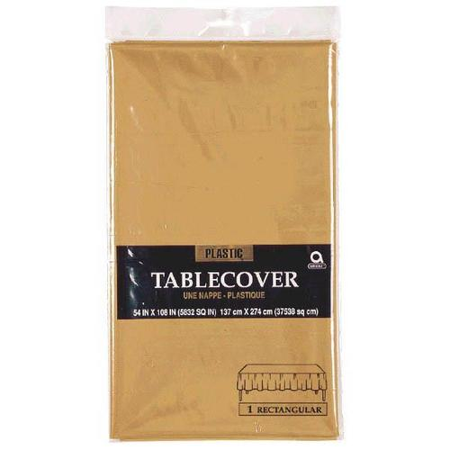 "Gold 54""x108"" Rectangular Plastic Table Cover - Amscan"