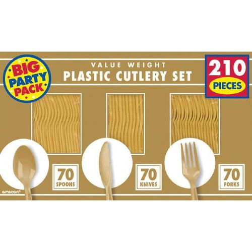Gold Cutlery Set 210ct - Amscan
