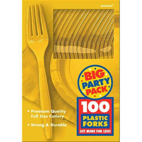 Yellow Sunshine Forks 100ct - Amscan