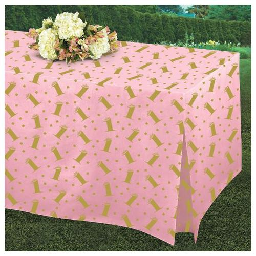 1st Birthday Pink Tablefitter Rectangular Table Cover - Amscan