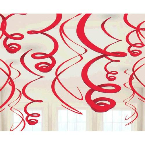 Apple Red Plastic Swirl Decorations 12ct - Amscan
