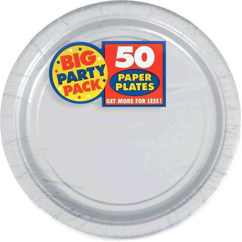 "Silver 9"" Paper Plates 50ct - Amscan"
