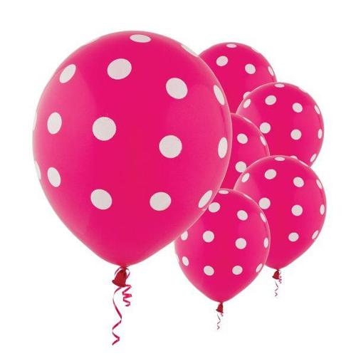 Latex Balloons Bright Pink Dots All Over Print 6ct - Amscan