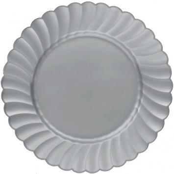 "Scalloped Plates 10 1/4"" Silver 12ct"