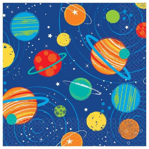 Blast Off Birthday Beverage Napkin 16ct - Amscan