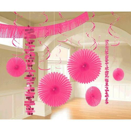 Bright Pink Paper & Foil Decorating Kits 18ct - Amscan