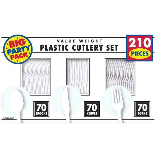 Frosty White Cutlery Set 210ct - Amscan