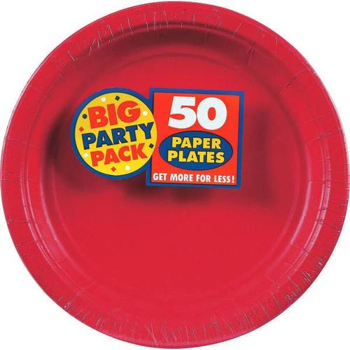 "Apple Red 9"" Paper Plates 50ct - Amscan"