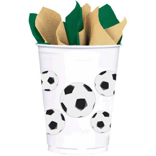 Soccer Plastic 16oz Cups 8ct - Amscan