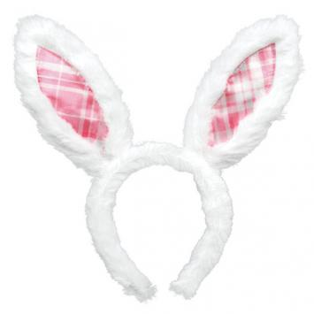 Easter Bunny Ears Pink Plaid