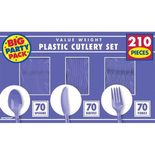 New Purple Cutlery Set 210ct - Amscan