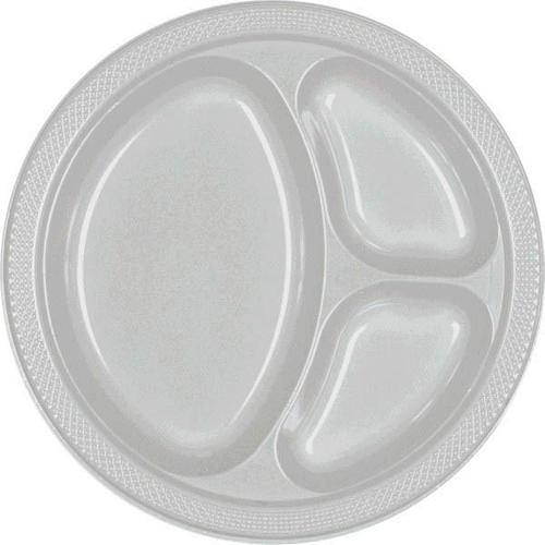 "Silver 10 1/4"" Divided Plastic Plates 20ct - Amscan"