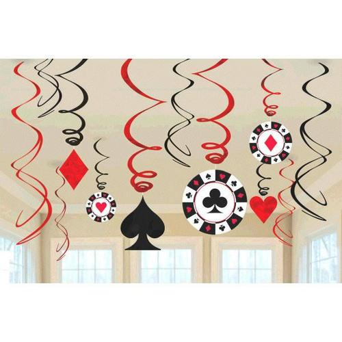 Casino Swirl Decorations 12ct - Amscan
