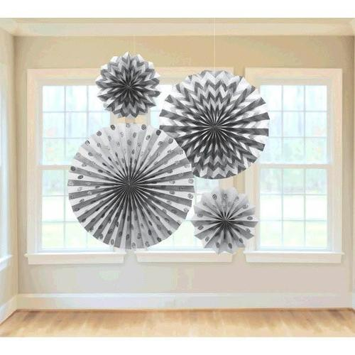 Silver Glitter Paper Fans 4ct - Amscan