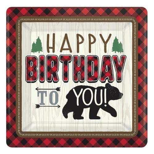 Little Lumberjack Birthday Dessert Plates 8ct - Amscan