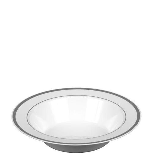 Premium Bowl White w/Silver Trim 10ct - Amscan