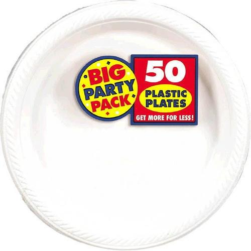 "Frosty White  7"" Plastic Plates 50Ct - Amscan"