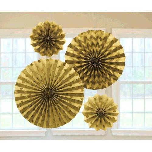Gold Glitter Paper Fans 4ct - Amscan