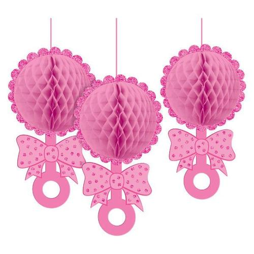 Baby Girl Hanging Honeycomb Rattle Decoration - Amscan