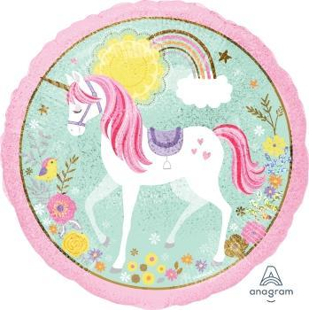 "18"" Magical Unicorn Holographic Foil Balloon - Flat - Anagram"