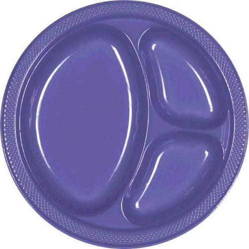 "New Purple 10 1/4"" Divided Plastic Plates 20ct - Amscan"