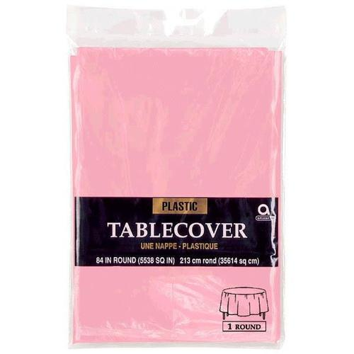"New Pink 84"" Round Plastic Table Cover - Amscan"