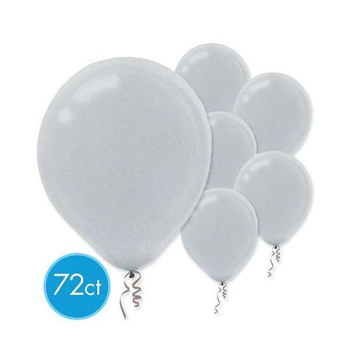 Latex Balloons 72ct Silver Pearlized - Amscan