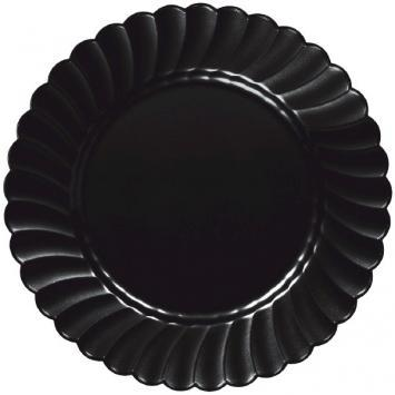 "Scalloped Plate 7 1/2"" Black 12ct - CATERING PARTY SUPPLY"