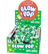 Blow Pop Sour Apple 48ct/.65oz - Charms Company