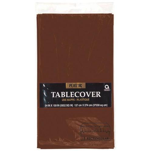 "Chocolate Brown 54'x108"" Rectangular Plastic Table Cover"
