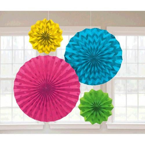 Multi Glitter Paper Fans 4ct - Amscan