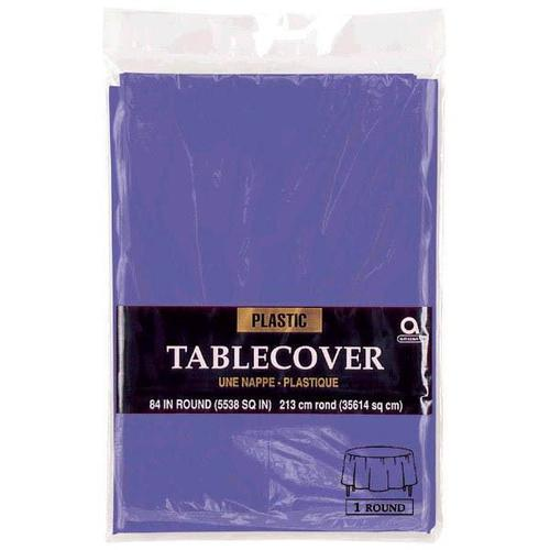 "New Purple 84"" Round Plastic Table Cover"