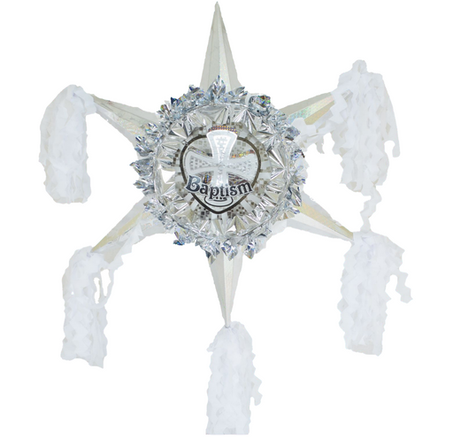 Baptism White & Silver - 3D Star Piñata Staple Free - Piñata District