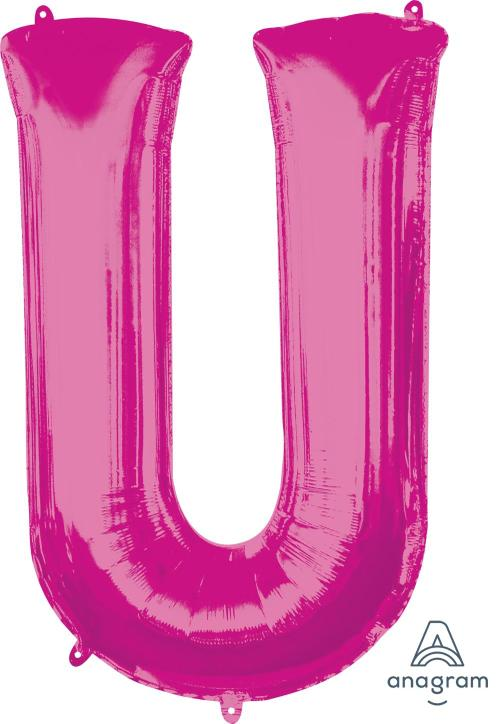 Supershape Pink Letter U Balloon - Anagram