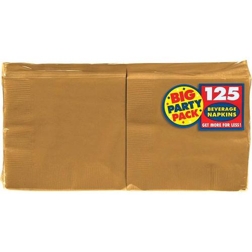 Gold Beverage Napkin 125ct - Amscan