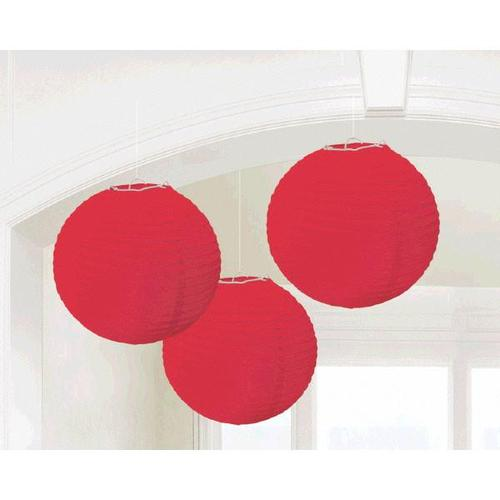 Apple Red Round Paper Lanterns - Amscan
