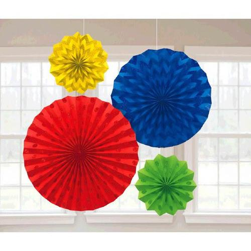 Rainbow Glitter Paper Fans 4ct - Amscan