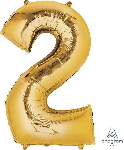 Supershape Gold Number 2 Balloon - Anagram