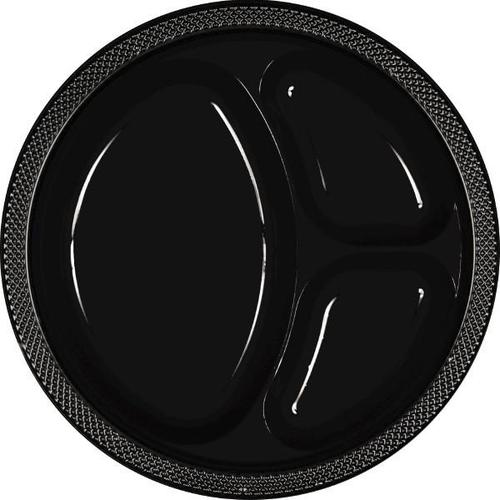 "Jet Black 10 1/4"" Divided Plastic Plates 20ct - Amscan"
