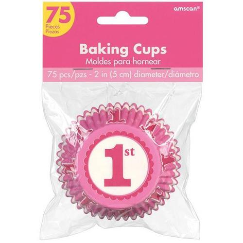 1St Bday Pink Cupcake Cases - Amscan