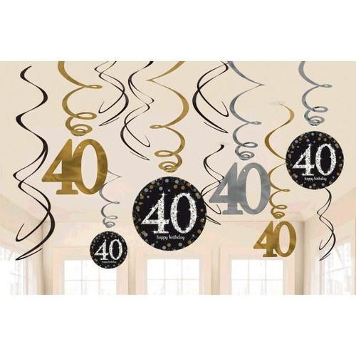 Sparkling Celebration 40th Birthday Swirl Decorations