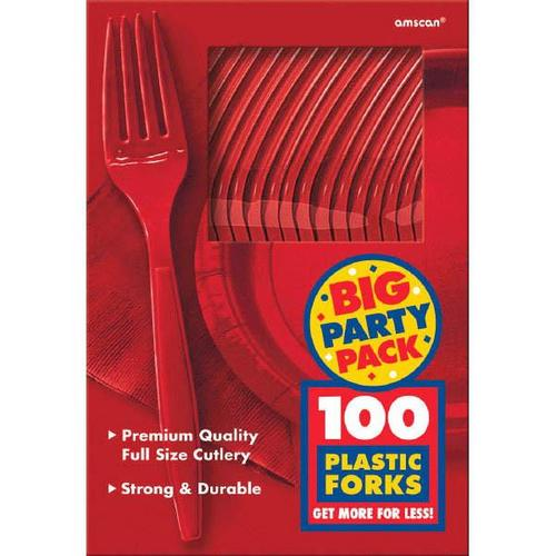 Apple Red Forks 100ct - Amscan