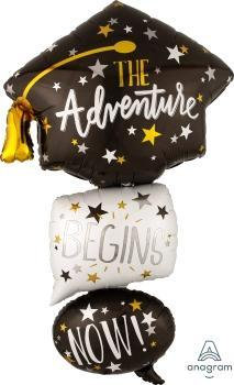 "Supershape Multi Graduation Cap Bubbles 61"" Balloon - Anagram"