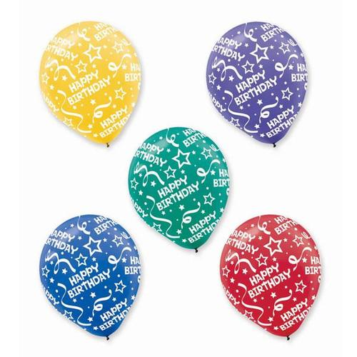 Latex Balloons Birthday Confetti Primary All Over Print 20ct - Amscan
