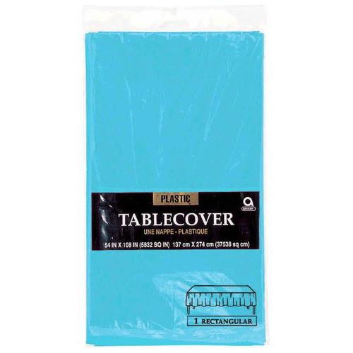 "Caribbean Blue 54""x108"" Plastic Table Cover - Amscan"