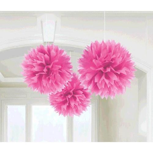 Bright Pink Fluffy Paper Decorations 3ct