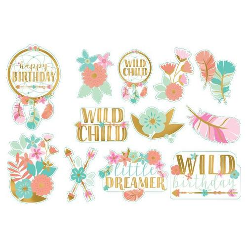 Boho Birthday Girl Cutouts 12ct - Amscan