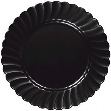 "Scalloped Plate 10 1/4"" Black 12ct - CATERING PARTY SUPPLY"