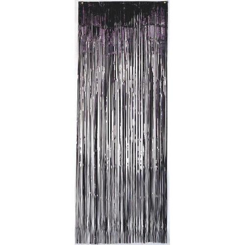 Jet Black Foil Metallic Curtain